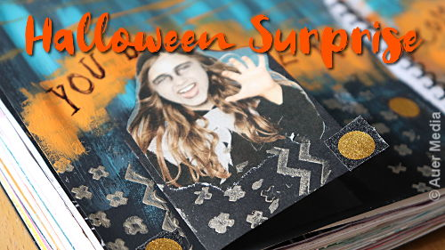 Art journal page HALLOWEEN SURPRISE with acrylic paints