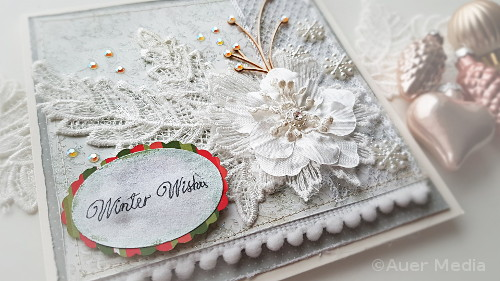 DIY Romantic Holiday/Christmas Card with Lace & Pompom