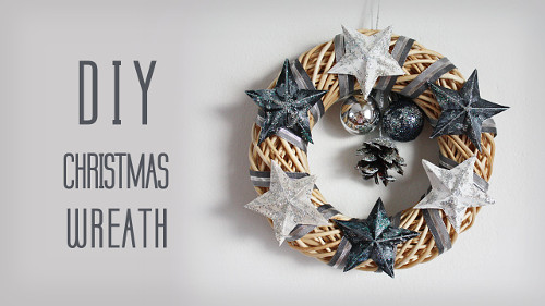DIY Quick Christmas Wreath with Stars