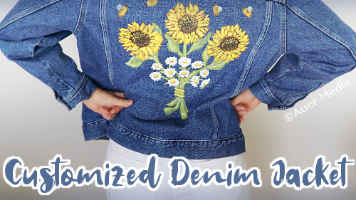 DIY Custom denim jacket with flowers using acrylic paint