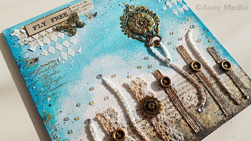 Simple mixed media canvas FLY FREE - How to make