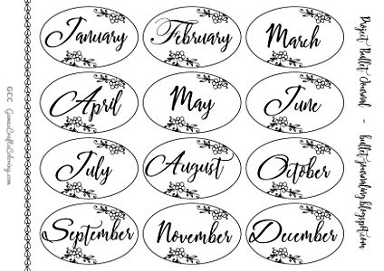 Free printable bullet journal month labels, floral