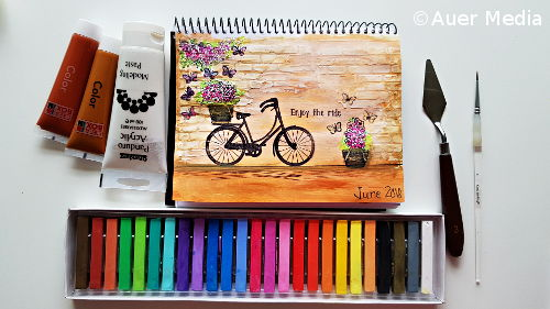 Art journal page Enjoy the ride with acrylics and chalk pastels